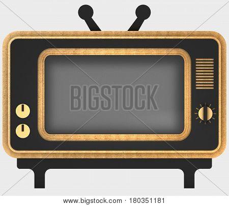 Decorative stylization of retro TV. Art object. 3D illustration.