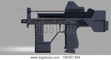 Modern automotical weapons pistol machine gun of a new pattern. It was developed taking into account all technical parameters. Design concept. 3D illustration.