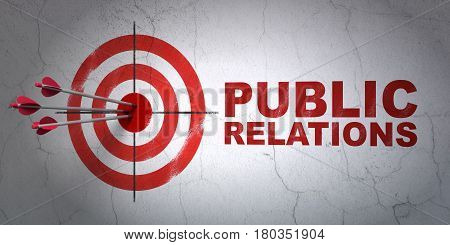 Success advertising concept: arrows hitting the center of target, Red Public Relations on wall background, 3D rendering