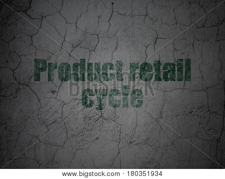 Marketing concept: Green Product retail Cycle on grunge textured concrete wall background