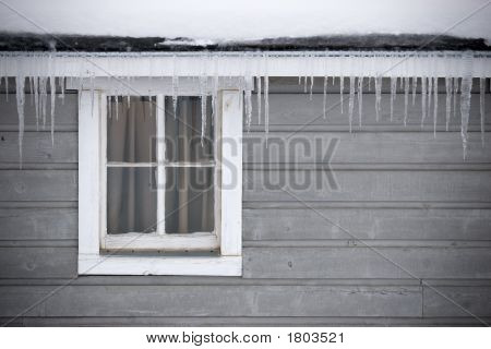 Shed Window In Winter