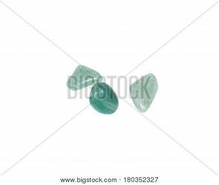 Tumbled green aventurine from South Africa isolated on white background