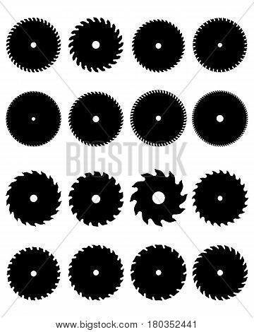 Silhouettes of circular saw blades on a white background
