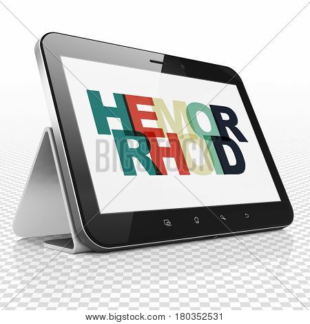 Healthcare concept: Tablet Computer with Painted multicolor text Hemorrhoid on display, 3D rendering
