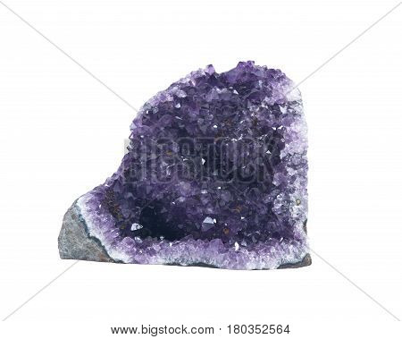 Amethyst cathedral geode specimen from Uruguay isolated on white background