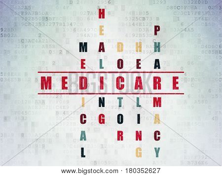 Medicine concept: Painted red word Medicare in solving Crossword Puzzle on Digital Data Paper background