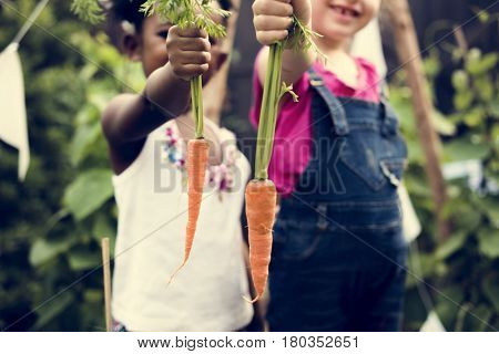 Group of children planting vegetable in greenhouse
