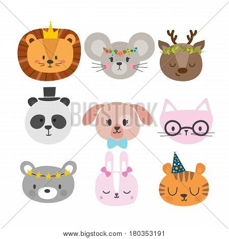 Cute Animals With Funny Accessories. Set Of Hand Drawn Smiling Characters. Cat, Lion, Panda, Dog, Ti