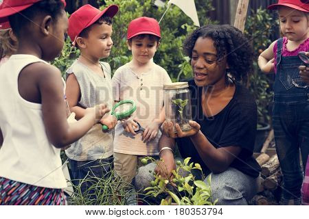 Group of students learning plant biology