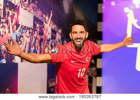 ISTANBUL, TURKEY - MARCH 16, 2017: Arda Turan wax figure at Madame Tussauds  museum in Istanbul. Arda Turan is a professional football player who plays for FC Barcelona and Turkey national team