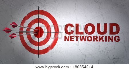 Success cloud computing concept: arrows hitting the center of target, Red Cloud Networking on wall background, 3D rendering