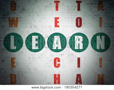 Learning concept: Painted green word Learn in solving Crossword Puzzle on Digital Data Paper background