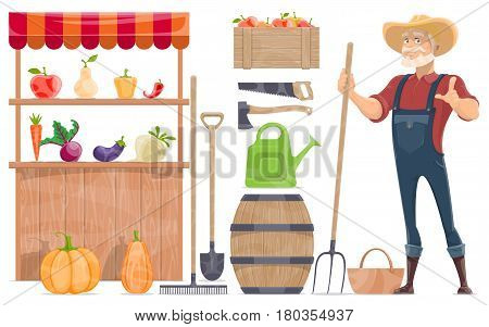 Farm elements collection with farmer grocery shop vegetables fruits manual labor tools wooden barrel isolated vector illustration