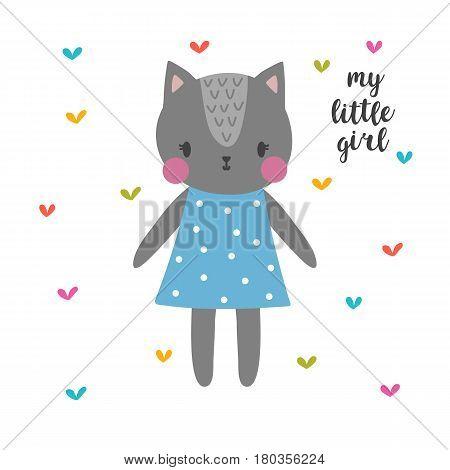 My Little Girl. Cute Cat. Funny Postcard For Girl