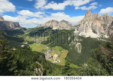 View of the Dolomites and Val Badia, South Tyrol