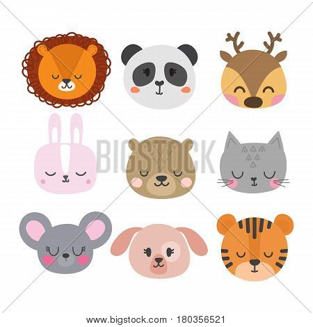 Set Of Cute Hand Drawn Smiling Animals. Cat, Bunny, Lion, Panda, Tiger, Dog, Deer, Mouse And Bear. C