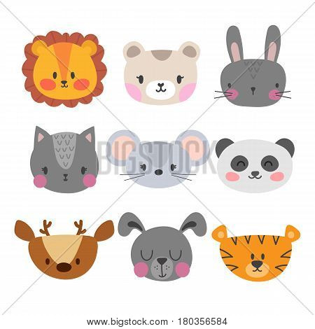 Set Of Cute Hand Drawn Smiling Animals. Cat, Lion, Panda, Tiger, Dog, Deer, Bunny, Mouse And Bear. C
