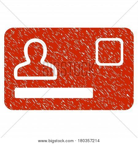 Grunge Banking Card icon with grunge design and dust texture. Unclean vector red pictogram for rubber seal stamp imitations and watermarks. Draft sticker symbol.