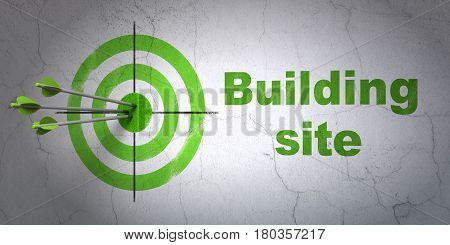 Success construction concept: arrows hitting the center of target, Green Building Site on wall background, 3D rendering