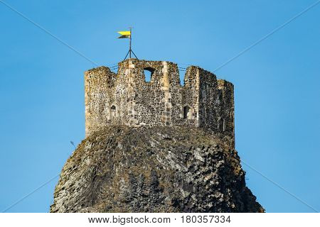 Ruin of Trosky Castle in the Bohemia Paradise. Detail of one of the two towers.