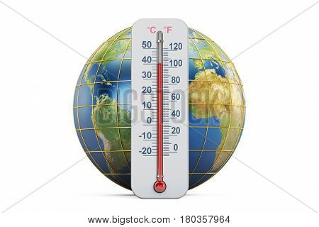 Global warming concept. Thermometer with Earth globe 3D rendering isolated on white background