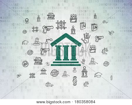 Law concept: Painted green Courthouse icon on Digital Data Paper background with  Hand Drawn Law Icons