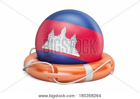 Lifebelt with Cambodia flag safe help and protect concept. 3D rendering