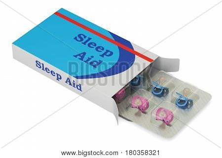 Pacifiers as Sleep aid pills 3D rendering isolated on white background