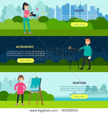 People hobbies horizontal banners with people involving in photography astronomy and painting interests vector illustration