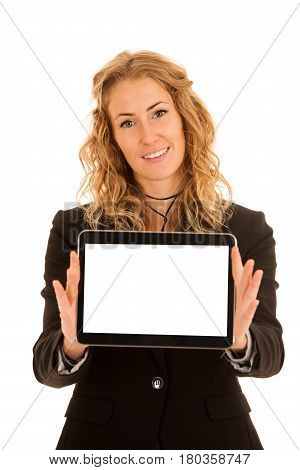 Business woman showing tablet with blank display for text or commercial advertisement ad