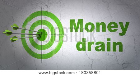 Success banking concept: arrows hitting the center of target, Green Money Drain on wall background, 3D rendering