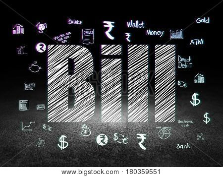 Money concept: Glowing text Bill,  Hand Drawn Finance Icons in grunge dark room with Dirty Floor, black background