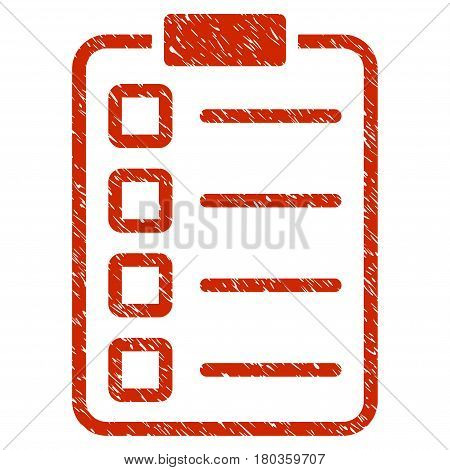 Grunge Examination icon with grunge design and unclean texture. Unclean vector red pictogram for rubber seal stamp imitations and watermarks. Draft sign symbol.