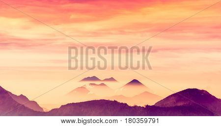 Silhouette of volcano landscape in the mountains by Quetzaltenango