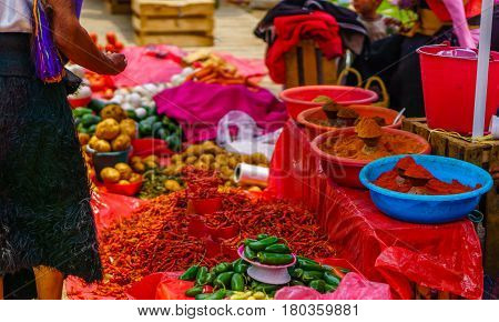 Red chillies on maya market in Mexico