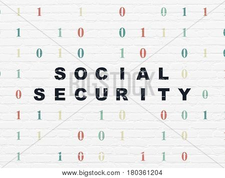 Protection concept: Painted black text Social Security on White Brick wall background with Binary Code