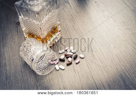 Bottle With Alcohol And Pills