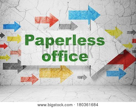 Business concept:  arrow with Paperless Office on grunge textured concrete wall background, 3D rendering