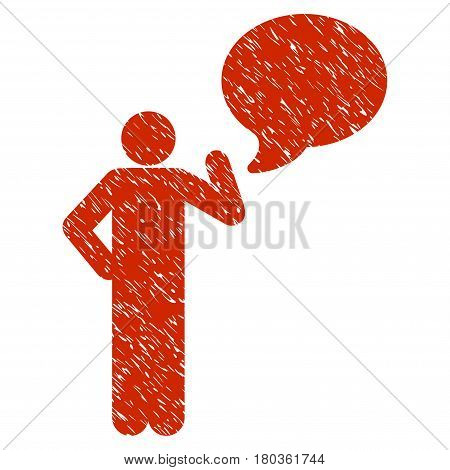Grunge Man Idea Balloon icon with grunge design and dust texture. Unclean vector red pictogram for rubber seal stamp imitations and watermarks. Draft emblem symbol.