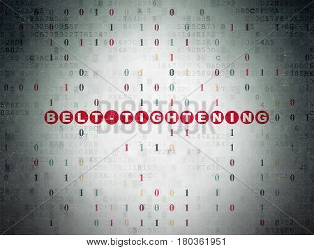 Finance concept: Painted red text Belt-tightening on Digital Data Paper background with Binary Code