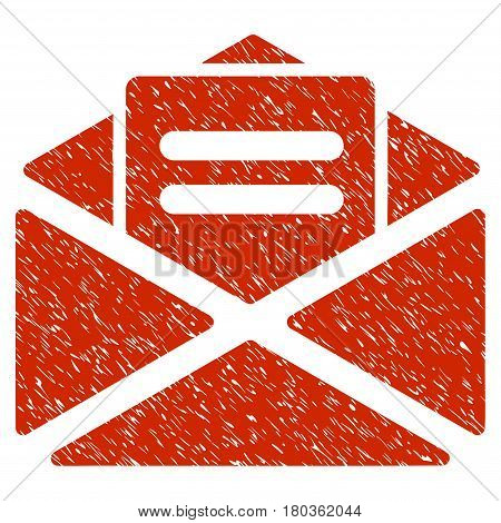 Grunge Open Mail icon with grunge design and scratched texture. Unclean vector red pictogram for rubber seal stamp imitations and watermarks. Draft sticker symbol.