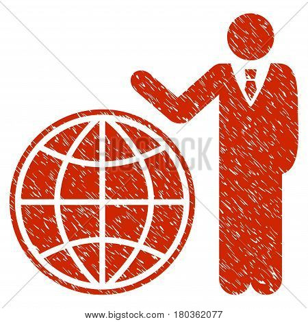 Grunge Planetary Manager icon with grunge design and scratched texture. Unclean vector red pictogram for rubber seal stamp imitations and watermarks. Draft sign symbol.
