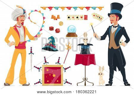 Magic elements collection with illusionist magician and different tools equipment using for tricks isolated vector illustration