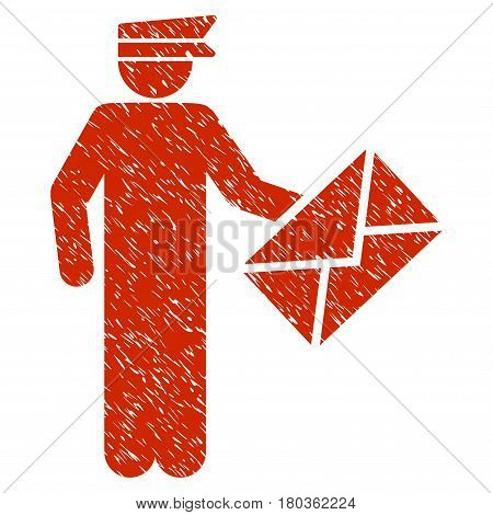 Grunge Postman icon with grunge design and dirty texture. Unclean vector red pictogram for rubber seal stamp imitations and watermarks. Draft sign symbol.
