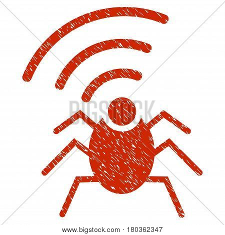 Grunge Radio Spy Bug icon with grunge design and unclean texture. Unclean vector red pictogram for rubber seal stamp imitations and watermarks. Draft emblem symbol.