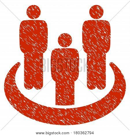 Grunge Social Group icon with grunge design and unclean texture. Unclean vector red pictogram for rubber seal stamp imitations and watermarks. Draft emblem symbol.
