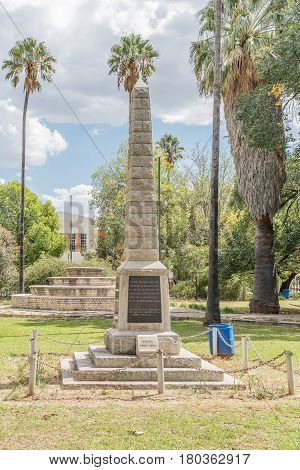 MIDDELBURG SOUTH AFRICA - MARCH 21 2017: A monument in Middelburg honouring citizens who died in the Anglo-Boer War 1899-1902