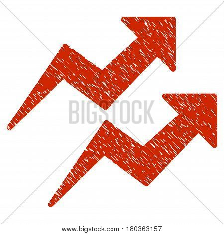 Grunge Trends icon with grunge design and dirty texture. Unclean vector red pictogram for rubber seal stamp imitations and watermarks. Draft emblem symbol.