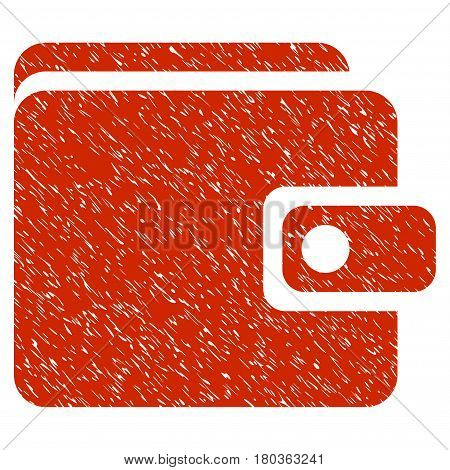 Grunge Wallet icon with grunge design and dust texture. Unclean vector red pictogram for rubber seal stamp imitations and watermarks. Draft emblem symbol.