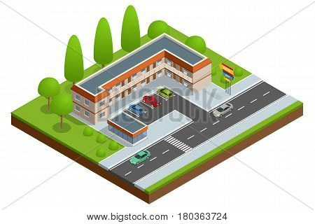 Motel or hotel building near the road with cars, parking lot and neon sign. Vector isometric icon or infographic element.